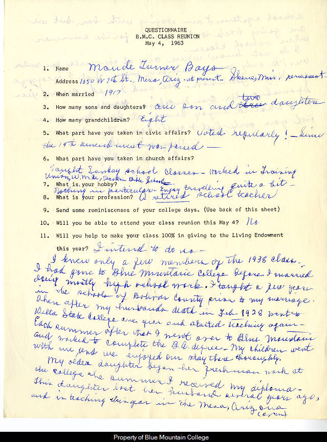 bmc class of 1938 reunion questionnaire