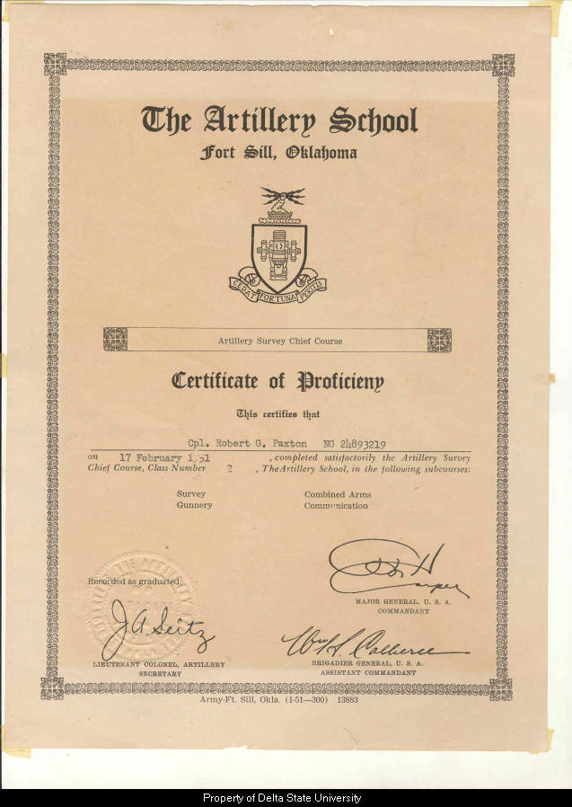 Certificate Of Proficieny Awarded To Ag Paxton February 17 1951