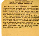 BMC .newspaper. Article, Frank Fair is Chariman of Mother Berry Memorial: undated.