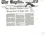 "BMC Newspaper. The Baptist Record: ""Blue Mountain Grauate is First Woman Priest in Puglia,..."