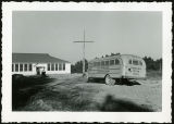Carthage, St. Joachim School, Mission Cross and School Bus;November 6, 1949