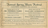 Postcard of Annual Spring Music Festival, Industrial Institute and College