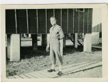 Soldier on Boardwalk at Camp Van Dorn