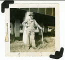 Picture of a unidentified soldier leaning on a blade