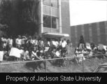 Photograph of student vigil in front of Alexander Hall, Jackson State College; [May 1970]