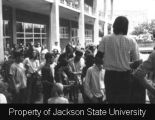 Photograph of Millsaps College students rallying in front of student union; [May 1970]