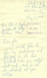 Letter, Gertrude E. Reif to Dr. John A. Peoples; May 20, 1970