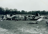 Tornado damage 1976: Cars in DeSoto Plant parking lot