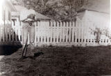 African-American boy in yard