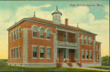 Canton High School building postcard